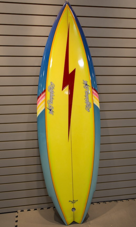 Rory russell model 5 10 lightning bolt twin fin 1979 for Fish surfboard for sale
